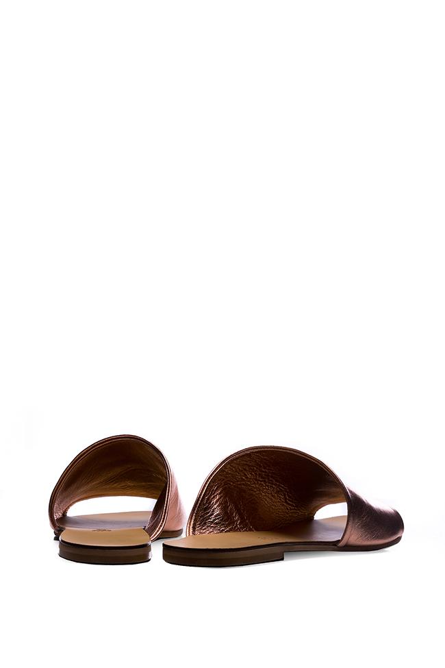 Papuci din piele metalizata Mihaela Gheorghe imagine 2