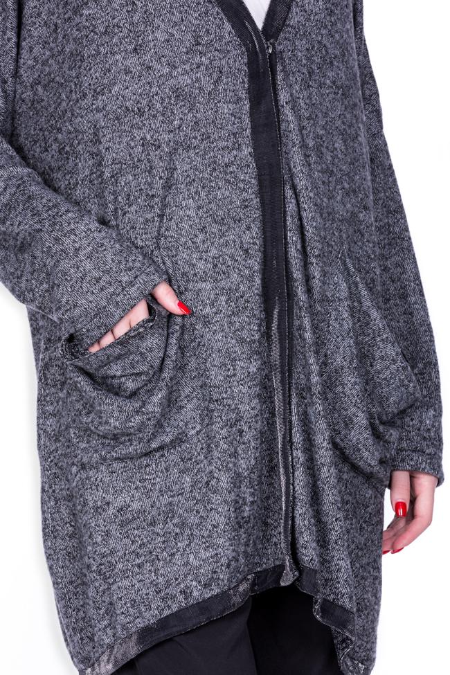 Cardigan din amestec de bumbac cu revere metalizate Salt Studio Cabal imagine 4