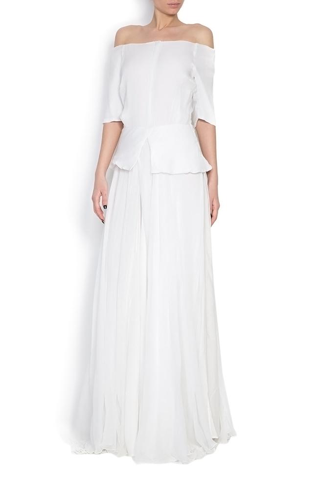 Artemis silk-mousseline peplum gown Dorin Negrau image 0
