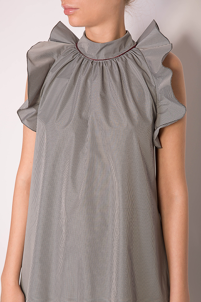 Rosin asymmetric ruffled checked mini dress Alexandra Ghiorghie image 3