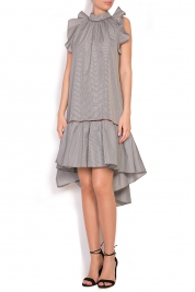 Alexandra Ghiorghie Rosin asymmetric ruffled checked mini dress