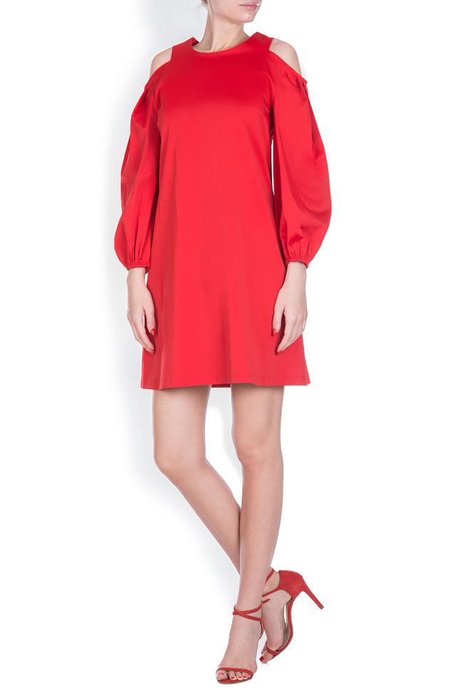 Cold-shoulder coton poplin mini dress BLUZAT image 0