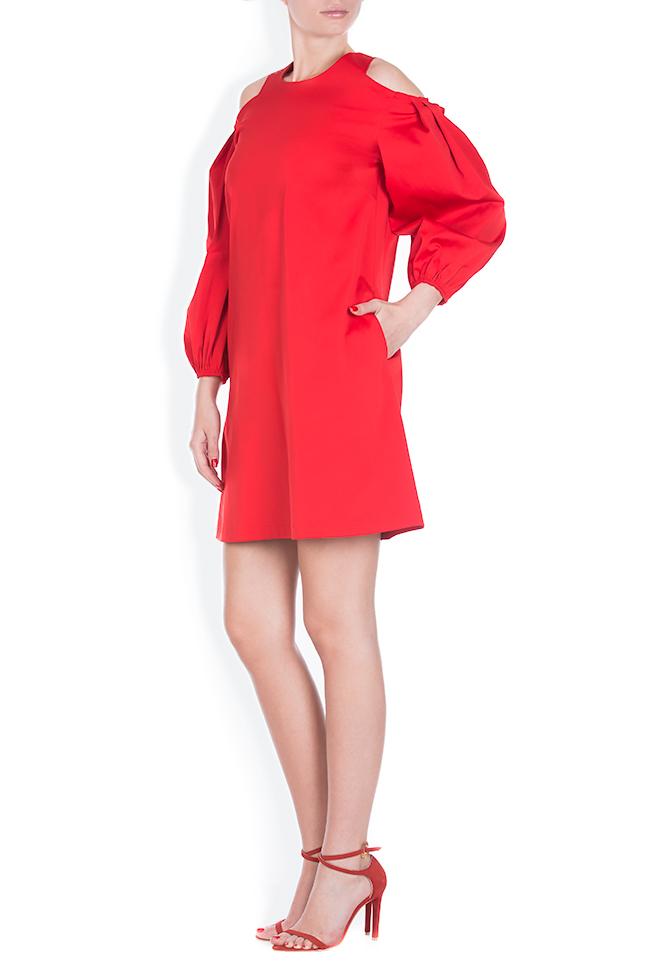 Cold-shoulder coton poplin mini dress BLUZAT image 1