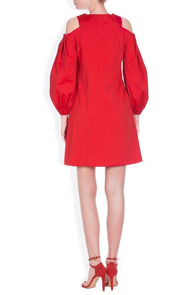 Cold-shoulder coton poplin mini dress BLUZAT image 2