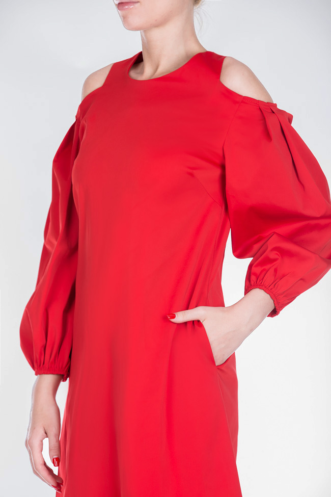 Cold-shoulder coton poplin mini dress BLUZAT image 3