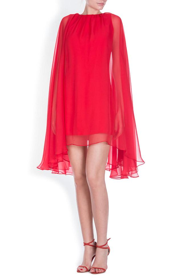 Cape-effect silk-blend mini dress Bluzat Cocktail image 0