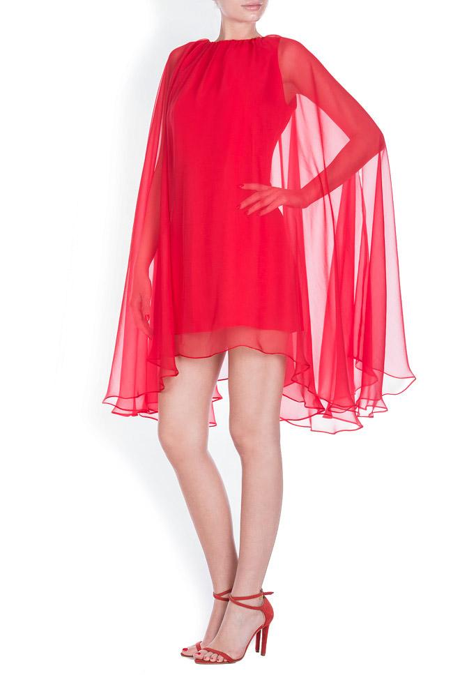 Cape-effect silk-blend mini dress Bluzat Cocktail image 1