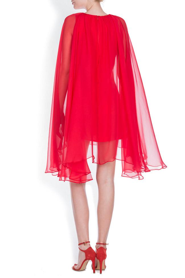 Cape-effect silk-blend mini dress Bluzat Cocktail image 2