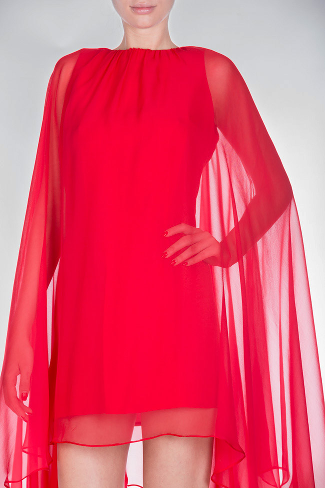 Cape-effect silk-blend mini dress Bluzat Cocktail image 3
