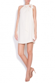 Ava Frid Hannah bowed crepe mini dress
