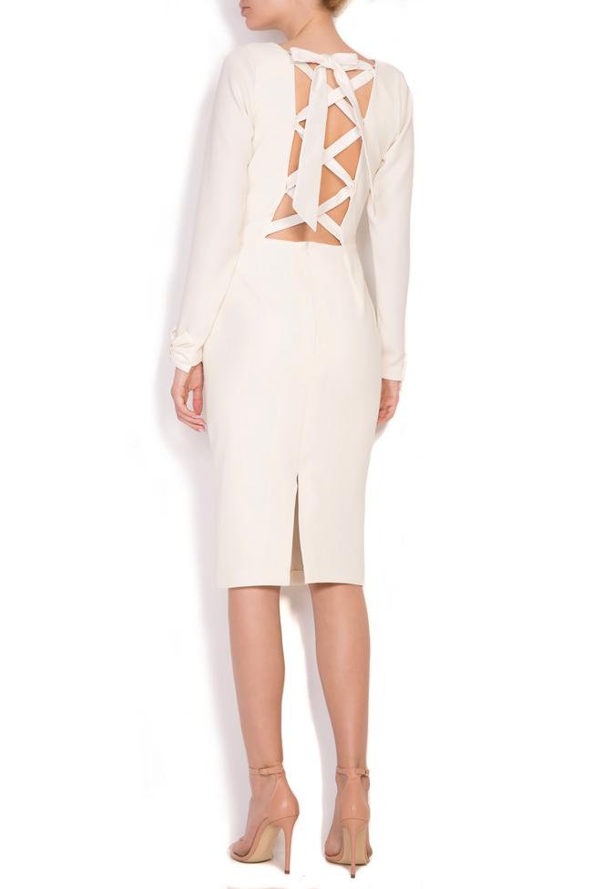 Valentina bowed crepe taffeta midi dress Ava Frid image 2