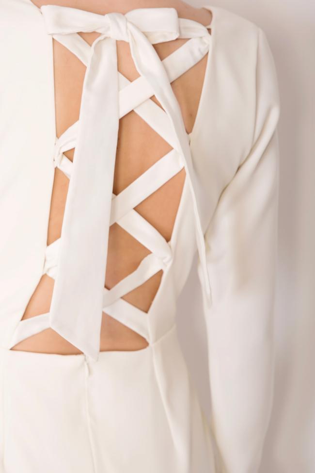 Valentina bowed crepe taffeta midi dress Ava Frid image 3