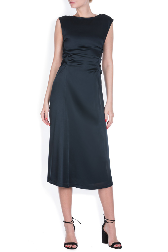 Draped crepe satin midi dress - Midi Dresses made to measure