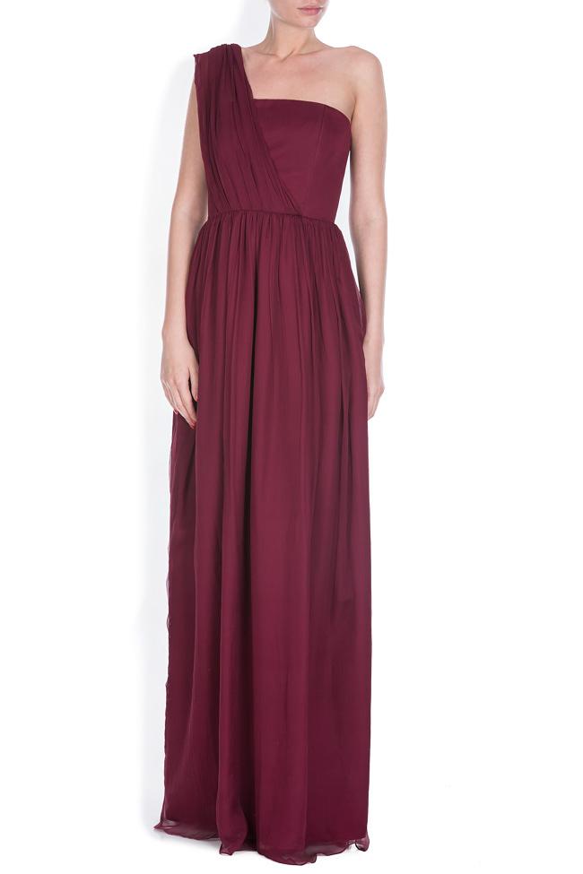 One-shoulder plissé silk-chiffon gown Bluzat Cocktail image 0