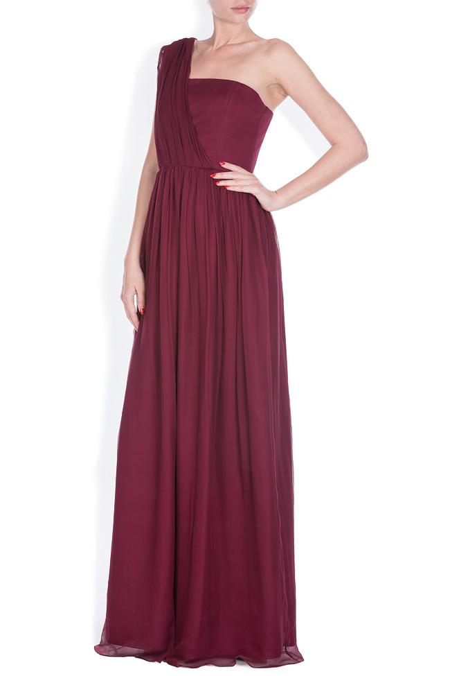 One-shoulder plissé silk-chiffon gown Bluzat Cocktail image 1