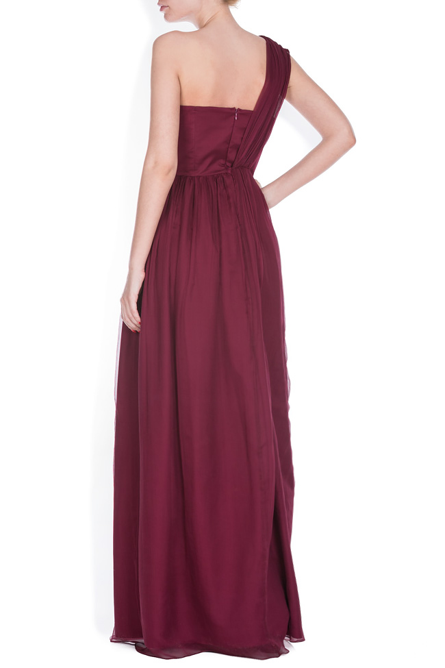 One-shoulder plissé silk-chiffon gown Bluzat Cocktail image 2
