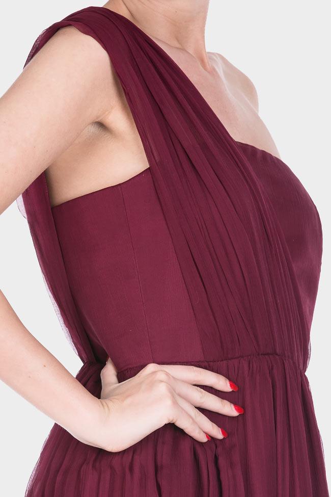 One-shoulder plissé silk-chiffon gown Bluzat Cocktail image 3