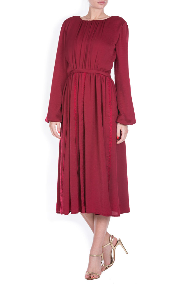 Lace-trimmed satin midi dress BLUZAT image 0