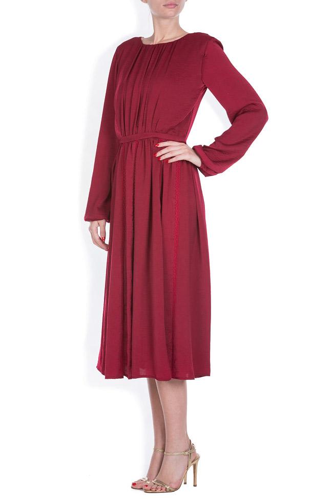 Lace-trimmed satin midi dress BLUZAT image 1