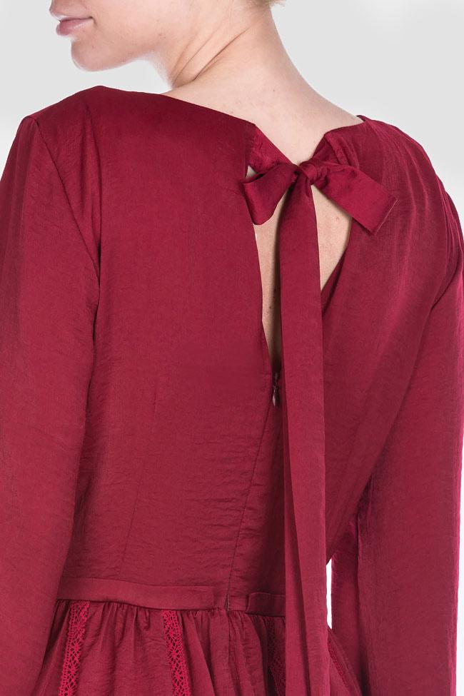 Lace-trimmed satin midi dress BLUZAT image 3