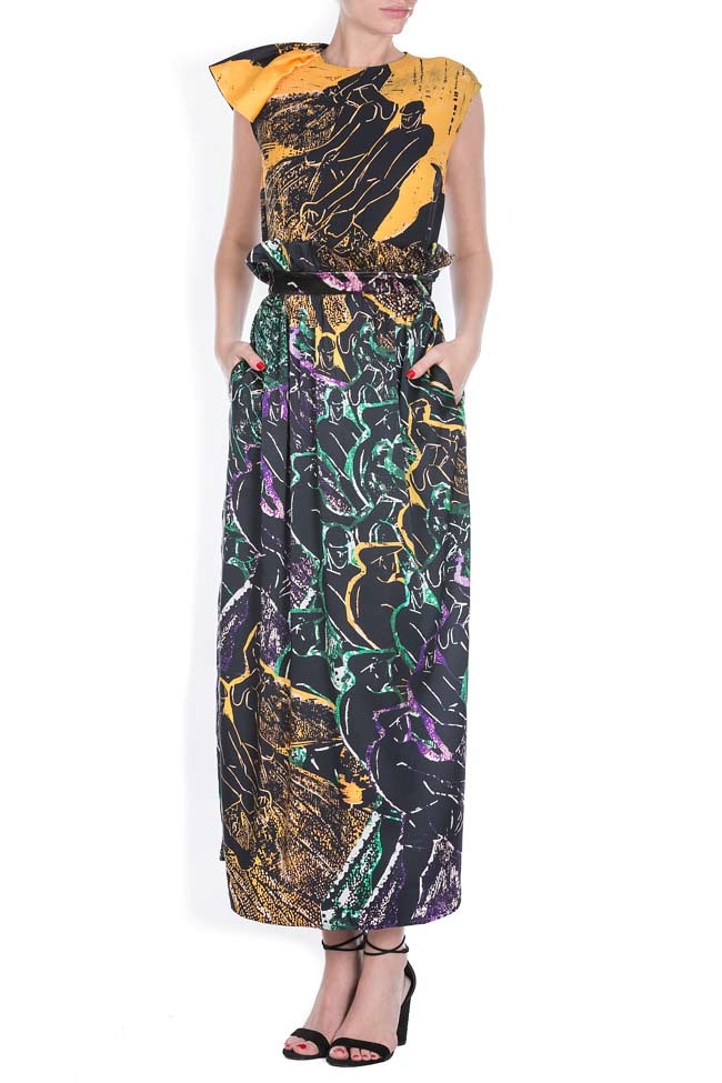 Printed silk maxi skirt Argo by Andreea Buga image 0
