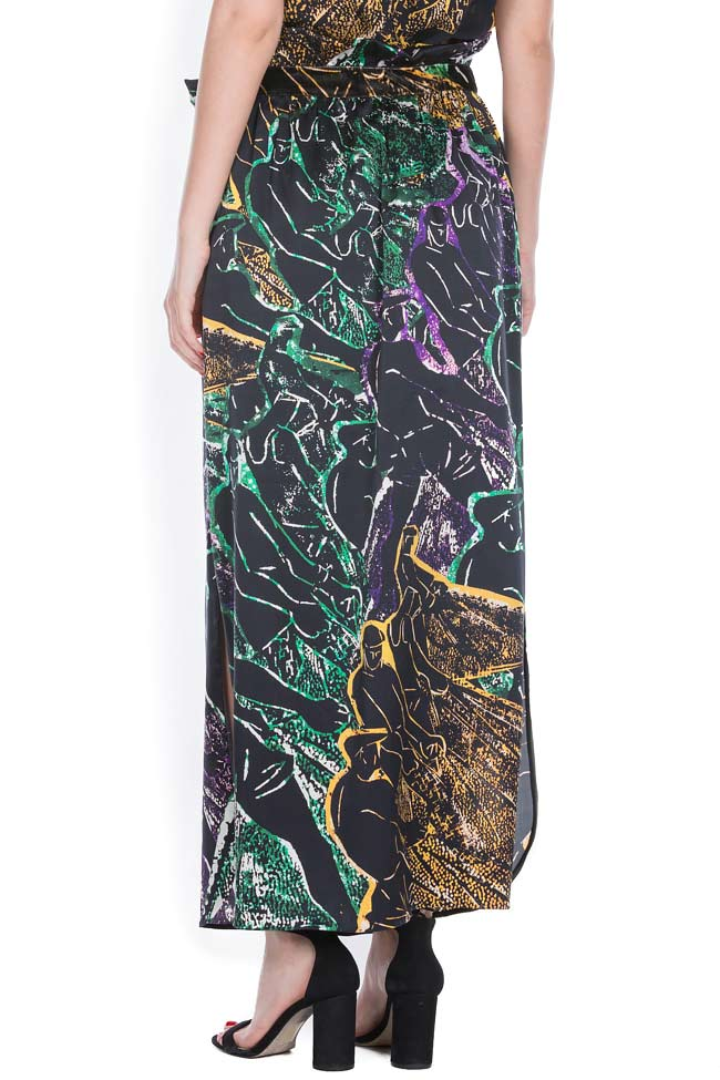 Printed silk maxi skirt Argo by Andreea Buga image 2