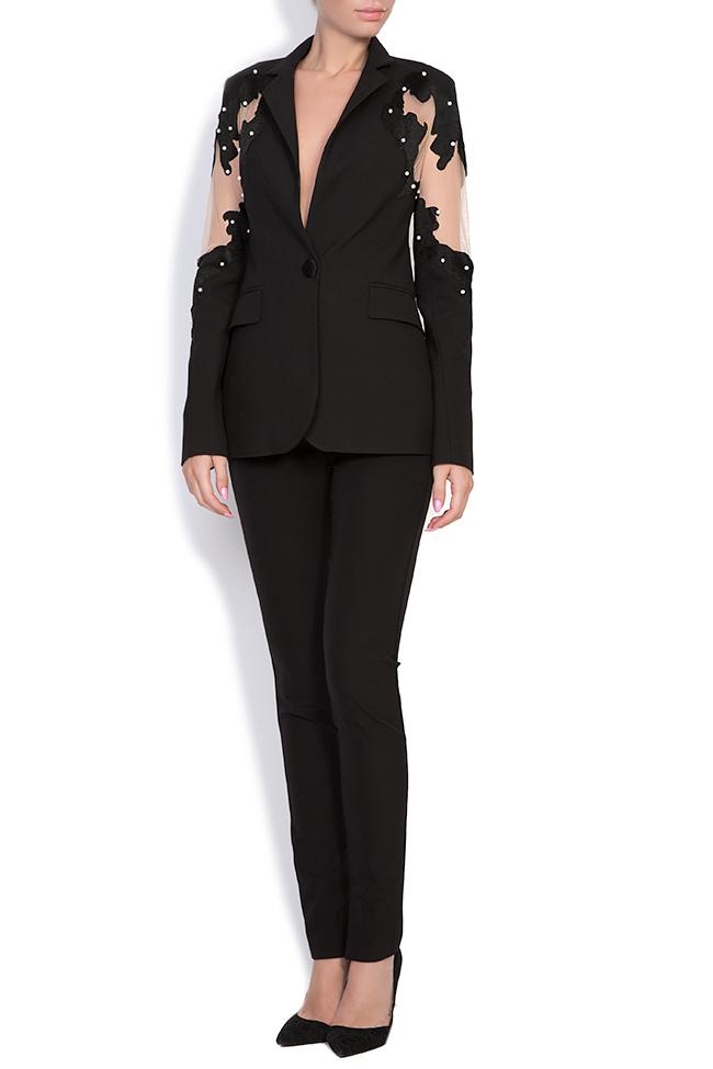 Vogue embellished silk crepe tulle blazer Alina Cernatescu image 0