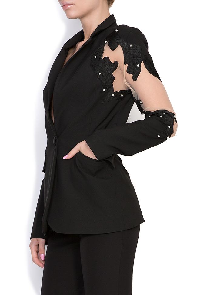 Vogue embellished silk crepe tulle blazer Alina Cernatescu image 1