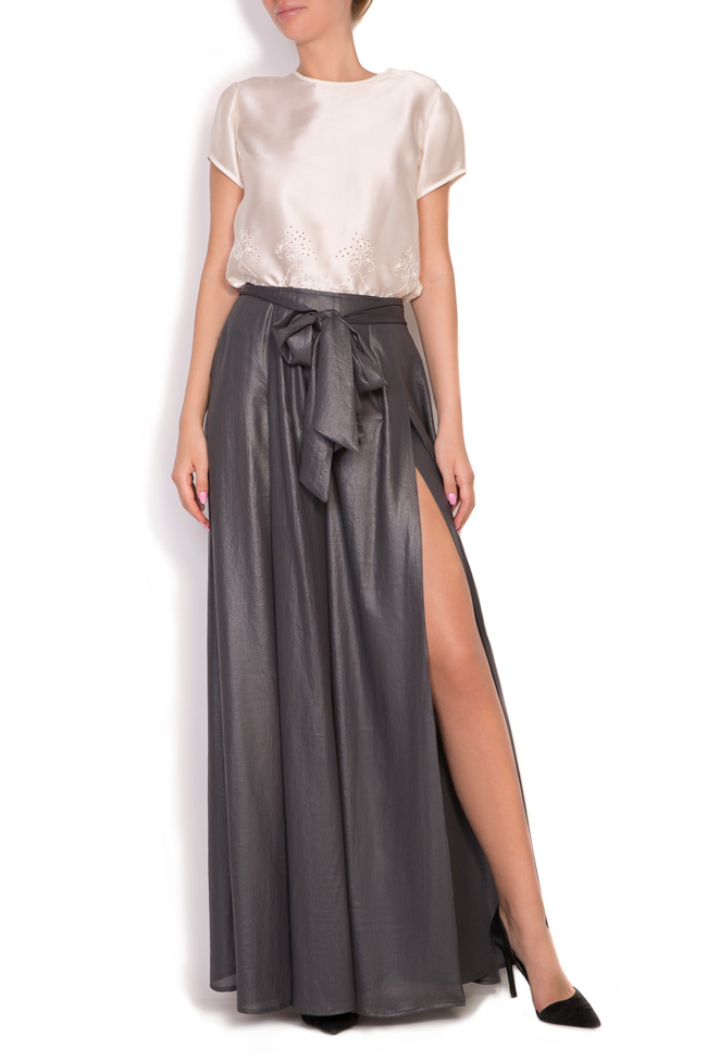 Orin belted metallic wide-leg pants Alexandra Ghiorghie image 0