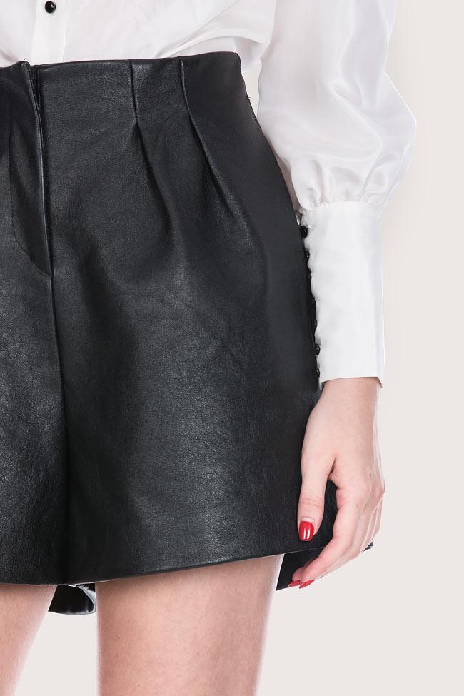 Pantaloni scurti din piele naturala Zenon imagine 3