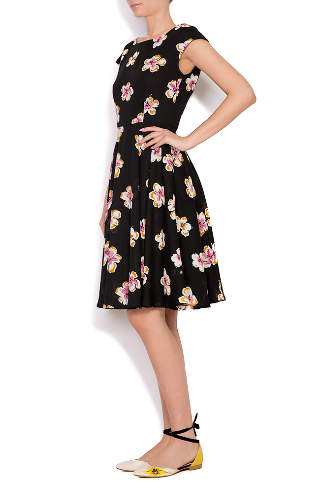 Floral-print crepe de chine mini dress Oana Manolescu image 1