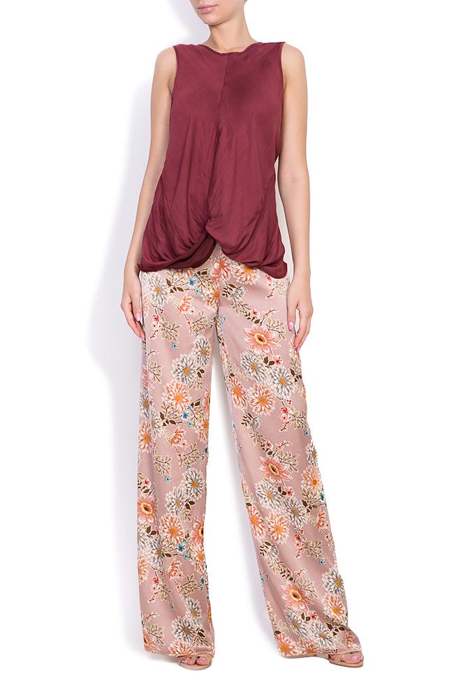 Pantaloni din amestec de matase cu imprimeu floral Fantesy Shakara imagine 0