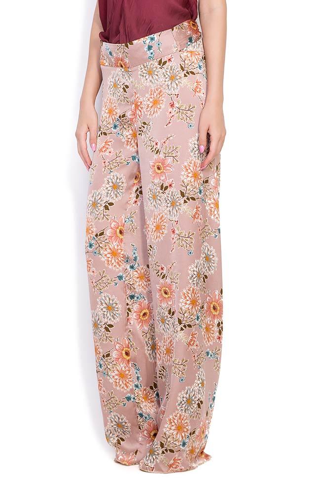 Pantaloni din amestec de matase cu imprimeu floral Fantesy Shakara imagine 1