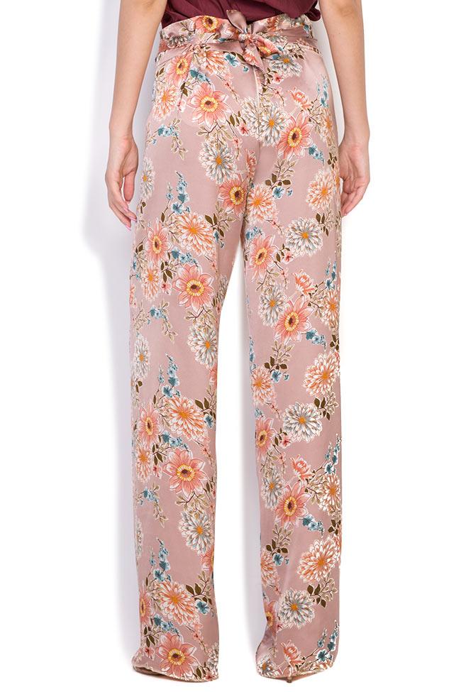 Pantaloni din amestec de matase cu imprimeu floral Fantesy Shakara imagine 2