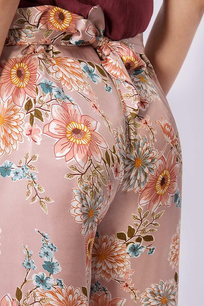 Pantaloni din amestec de matase cu imprimeu floral Fantesy Shakara imagine 3
