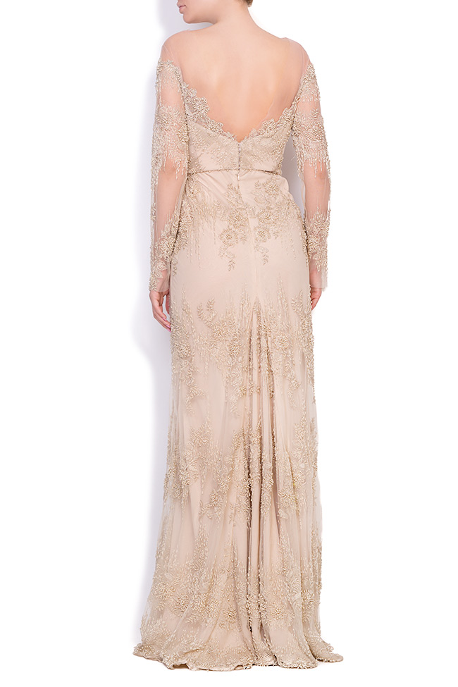 Robe en tulle crêpe et dentelle ornée de perles cousues à la main Nicole Enea image 2