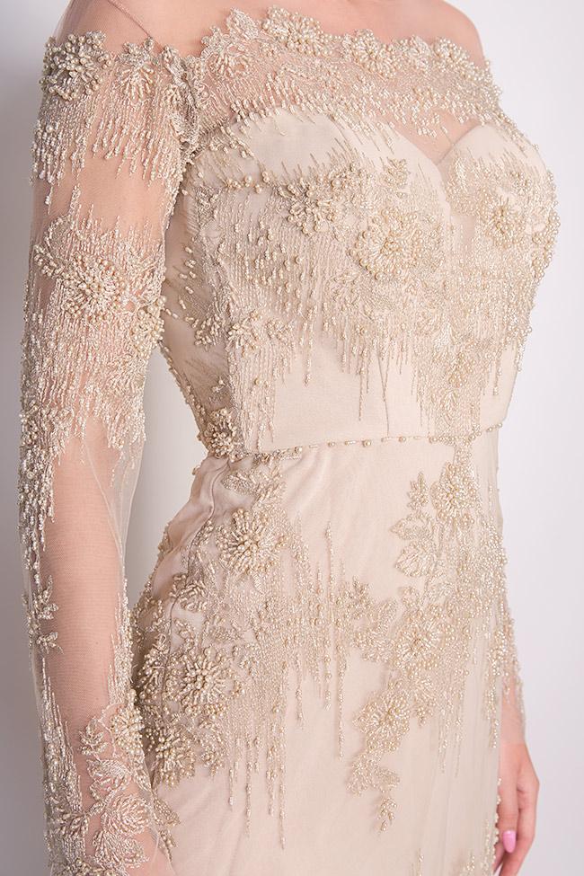 Robe en tulle crêpe et dentelle ornée de perles cousues à la main Nicole Enea image 3