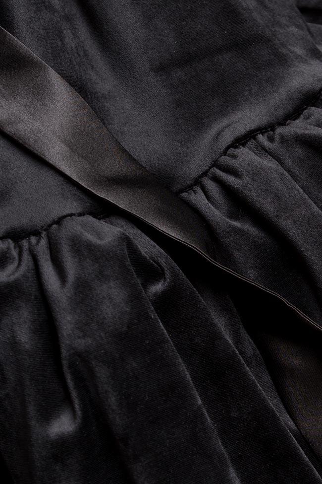 Rochie din catifea cu volane si bretele din satin BADEN 11 imagine 3