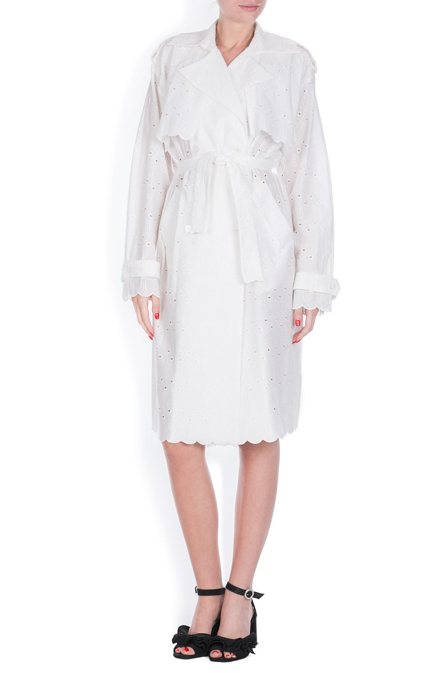 Milano broderie anglaise cotton trench coat OMRA image 0