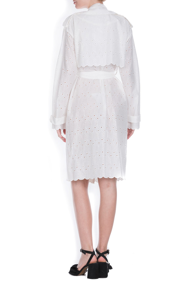 Milano broderie anglaise cotton trench coat OMRA image 2