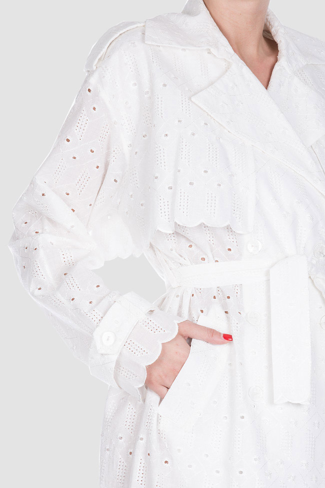 Milano broderie anglaise cotton trench coat OMRA image 3