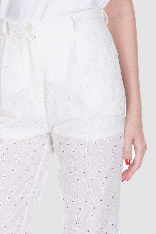 Pantaloni din bumbac brodat Milano OMRA imagine 3