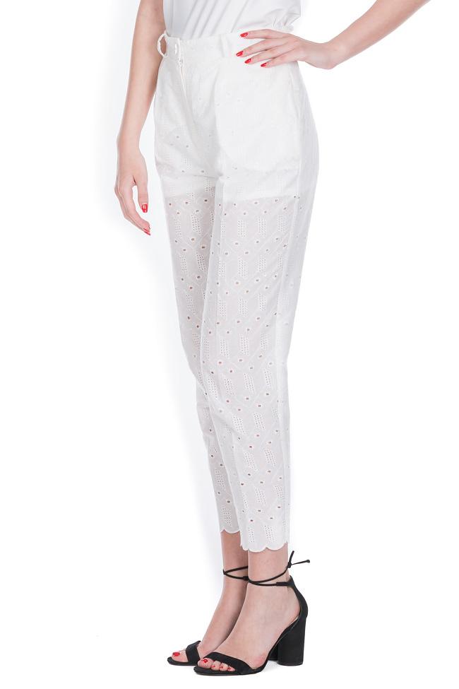 Milano broderie anglaise cotton straight-leg pants OMRA image 1