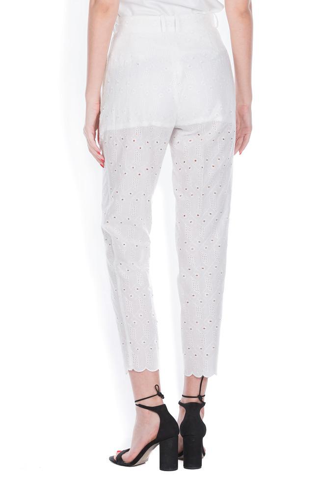 Milano broderie anglaise cotton straight-leg pants OMRA image 2