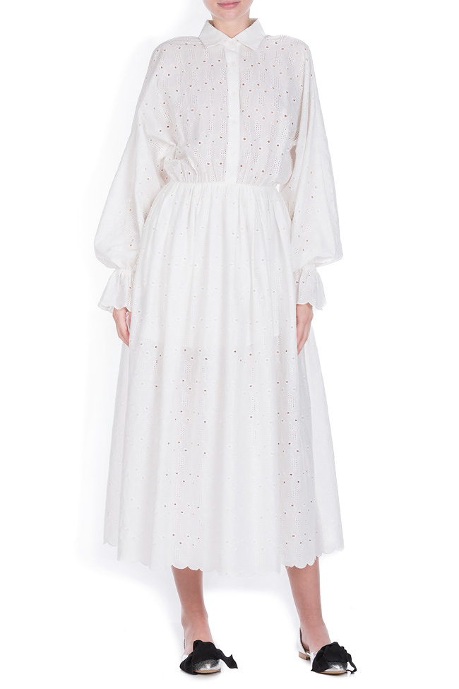 Milano broderie anglaise cotton midi dress OMRA image 0