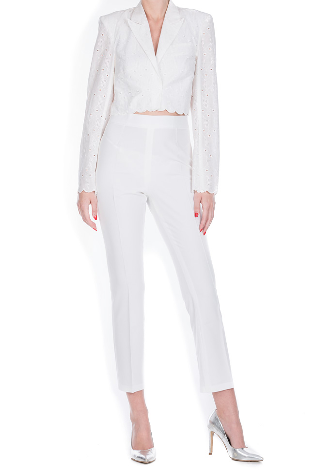 Milano broderie anglaise cotton crop top blazer OMRA image 0