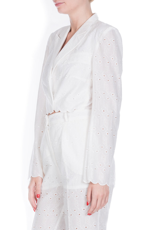 Milano broderie anglaise cotton crop top blazer OMRA image 2