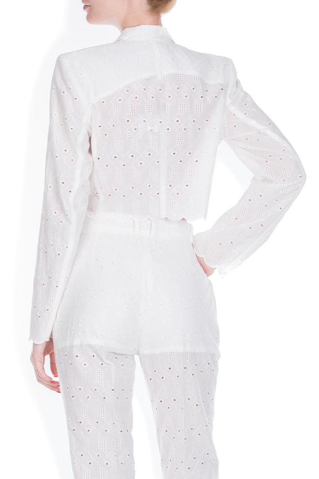 Milano broderie anglaise cotton crop top blazer OMRA image 3