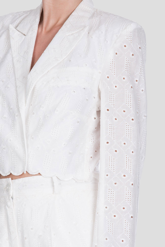 Milano broderie anglaise cotton crop top blazer OMRA image 4
