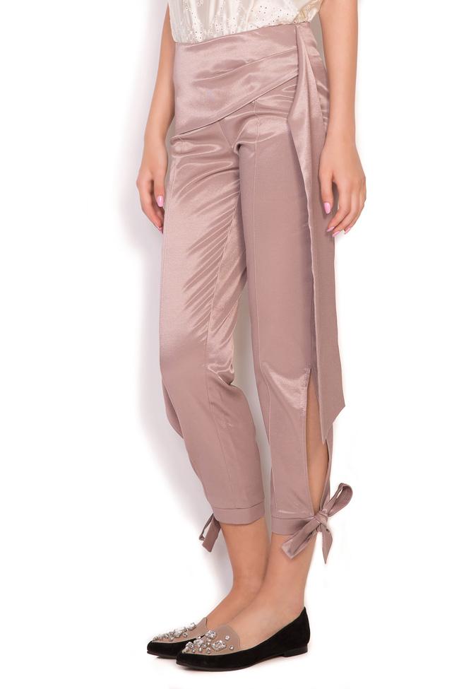 Pantaloni din amestec de bumbac satinat cu esarfe Hook DALB by Mihaela Dulgheru imagine 1